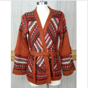 Vintage 60s 70s Tribal Print Tunic Wrap Cardigan ~